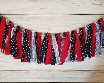 Red, black and white rag banner or bunting
