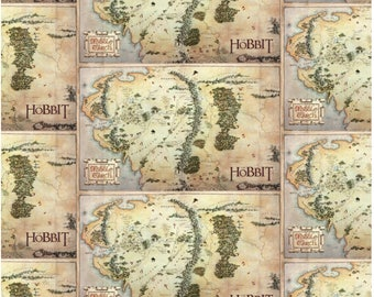 """The Hobbit from Camelot Fabrics - 24"""" x 44"""" Digitally Printed Panel of Middle Earth Map Fabric from Lord of the Rings"""