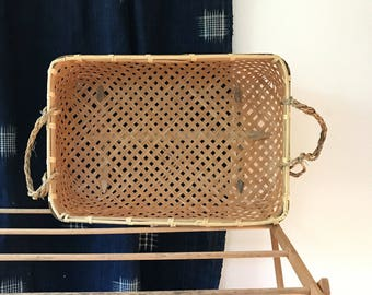 vintage basket / large woven basket / Cane & Rope basket