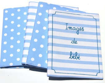 Baby boy Baby girl Baby Photo Album Brag book . Baby Shower Gift . French Handwriting : 'Images de Bébé' . DOTS or STRIPES . Printed cotton