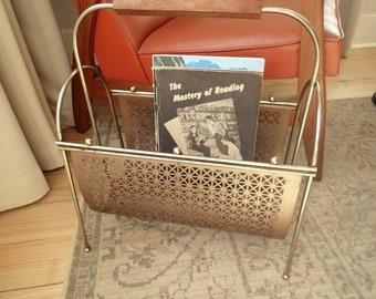 Mid Century Magazine Rack, magazine book storage, Stamped metal double sided, wood handle