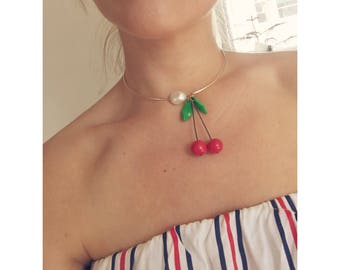 Cherry & Pearl charm Choker Necklace