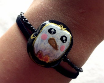 Hand-Painted Penguin Polymer Clay Bracelet - Braided Leather, Double-Strand, Crystal Accents