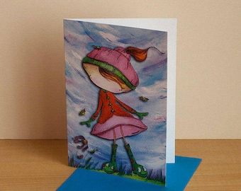"""Card for any occasion greeting card, birthday card, card for children, Interior blank """"Smiling boots"""""""