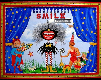 Painting, Collage, Colorful Assemblage, Recycled materials, SMILE - One size fits all, Whimsical Art