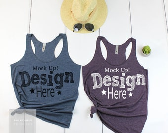 Next Level Tank Top Mockup, Next Level 6733 Vintage Purple and Ingido Couples Shirt Mockup,  Tank Top Flatlay Outfit Wood Background