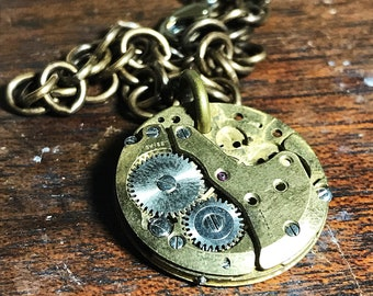 Full Brass Watch Movement Steampunk Pendant Necklace