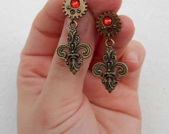 """Steampunk style stud earrings """"Fleur-de-Steam"""" with gears in bronze tone and a touch of red"""
