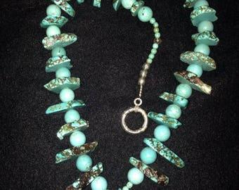 Handmade Southwestern Turquoise Beaded Necklace