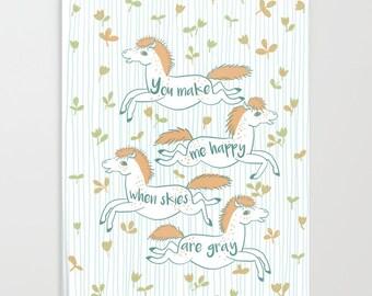 Heureux poneys Orange blanc cahier Journal