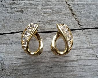 Crown Trifari Clear Rhinestone and Gold Earrings-Vintage Crown Trifari Rhinestone Earrings-Vintage Trifari Gold Earrings-Free Shipping