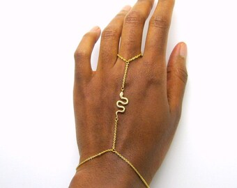 Serpent Slave Bracelet, gold ring bracelet, bracelet bague, simple gold bracelet, serpent bracelet, minimalist bracelet, simple hand chain