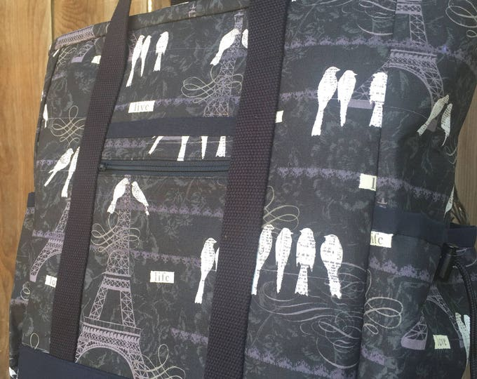 Large Tote Bag with Pockets, Eiffel Tower Teacher Tote, Nurse Bag, Travel Tote, Professional Tote, Carry On, Zippered Paris Teacher Bag