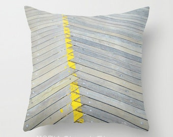 "BOARDWALK 16x16"" Pillow Cover. Photo Art by TMC. Beach, Bike, Sand. Worn Wood Greys, Yellow stripe. Coastal. Home Decor. Atlantic City, NJ"