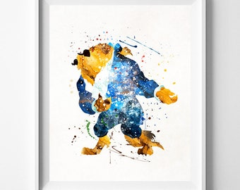 Beauty and The Beast, Disney Prince, Beast Beauty, Disney Poster, Beast Poster, Disney Decor, Watercolor Art, Kid Room, Fathers Day Gift