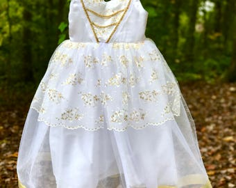 Queen tutu dress: white and gold, lined, tutu dress, easy on and off, halloween, birthday party, parks trip, meet & greet, alice in wonderla