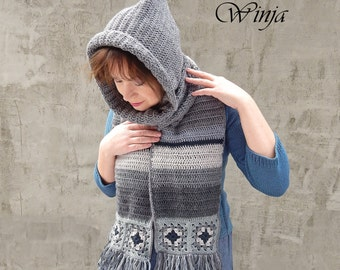 Hooded scarf, knitted scarf, hooded cowl, wool scarf, chunky knit scarf, gray hood scarf, women's knit scarf, crochet hood, boho scarf hood