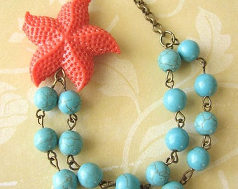 Starfish Jewelry Coral Necklace Starfish Necklace Turquoise Jewelry Beach Necklace Multi Strand