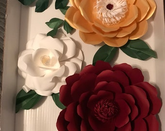 Maroon/Gold/White with Green accent - Giant 3D Paper Flower Set, Large Paper Flowers, Nursery Decor, Baby Shower Backdrop