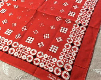 Vintage 1960's large Red Bandana 20x21 ColorFast polka dot abstract flower bold print all cotton selvedge #10