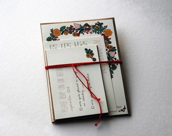 The Ruby Collection - Vintage Inspired Floral Wedding Invitation Set in Pink, Red, Gold, Brown and Green with Kraft Envelopes - SAMPLE