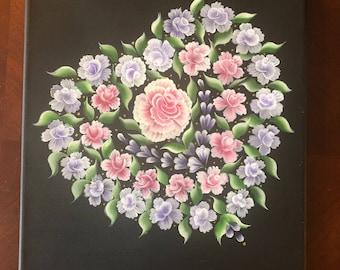 Floral Heart Original Painting (One Stroke Handmade Painting)