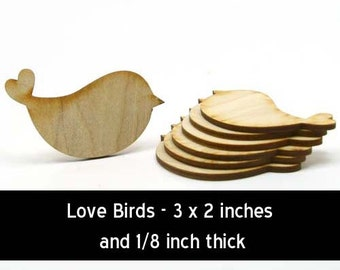 Unfinished Wood Love Bird - 3 inches wide by 2 inches tall and 1/8 inch thick wooden shape (BIRD01)