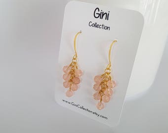 Light pink, glass beads, wire wrapped, gold plated earrings.