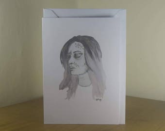 Halloween Card- Creepy Girl Illustration