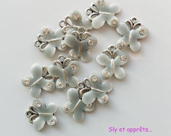 2 gray/blue 18mm Butterfly charms