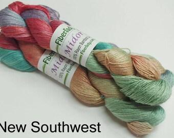 Hand painted Midori Bamboo yarn, 4 oz, New Southwest