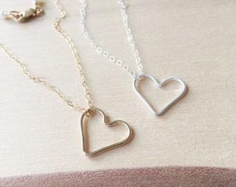Collier coeur, meilleur ami cadeau, ouverte Collier coeur, Collier coeur or, Collier coeur en argent, collier Simple, collier de sœurs, Dainty