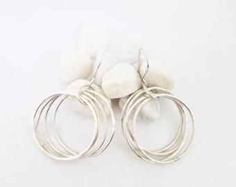 Silver Hoop Earrings / Hammered Silver Hoops / Multiple Hoop Earrings /  Sterling Silver Hoops / Four Hoop Earrings