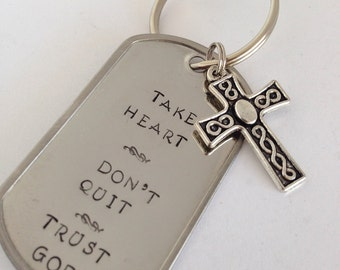CLEARANCE: Take Heart Don't Quit Trust God Keychain