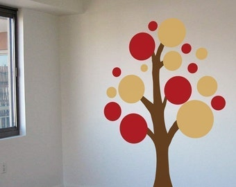 Lots of Circles Tree - Various Colors - Vinyl Wall Decals - Your Choice of Colors -