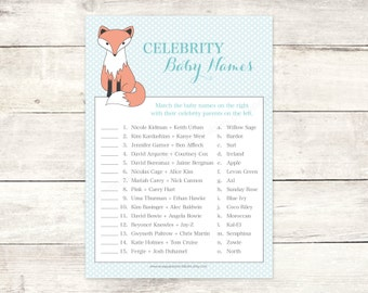fox baby shower celebrity baby names matching game card printable baby boy fox DIY blue cute baby shower digital games - INSTANT DOWNLOAD