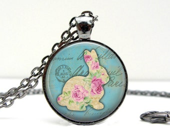 Bunny Necklace: Gift for Her. Handmade. Jewelry. Spring. Blue. Easter. Pendant. Easter Gift. Necklace. Bunny. Boho. Rabbit
