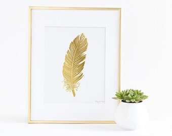 FeatherPrint, Feather Art Print, Printable Feather, Gold Feather, Office Decor, Home Decor, Feather Print, Nursery Art, Gold Nursery