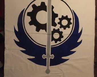 Hand-Painted, Brotherhood of Steel, Canvas Banner