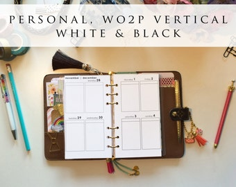 Personal planner inserts - week on 2 pages (WO2P), vertical, Mon-Sun, white and black, pre-punched (PS.7)