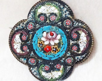 Micro-Mosaic Brooch Vintage Italian Floral