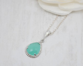 Necklace Silver Drop mint turquoise Wedding Bridal Bridal Jewelry