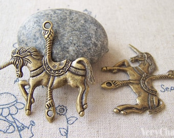 10 pcs of Antique Bronze Merry Go Round Unicorn Horse Pendant Charms Connector 42x42mm A5237