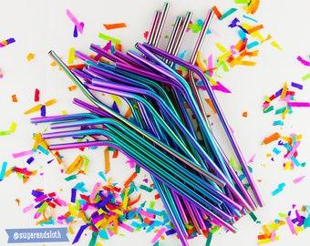 Rainbow metal straws, rainbow stainless straws, metal straws, rainbow drinking straw, reusable straws, reusable party straws, eco friendly
