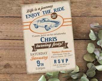 Life is a journey enjoy the ride, Vintage Mustang Car Birthday Printable Vintage Invitation, Mens Auto 40th Birthday Invite