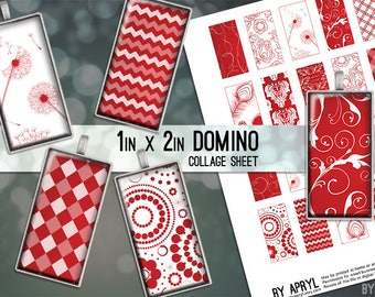 Apple Red and White Patterns 1x2 Domino Collage Sheet Digital Images for Domino Pendants Magnets Scrapbooking Journaling JPG D0042