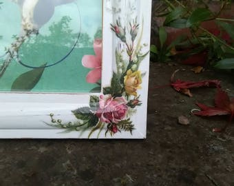 Vintage Style Frame, Upcycled, Wooden Frame, Decoupaged, Roses, Shabby Chic, Cottage Chic