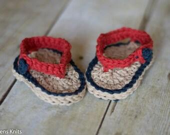 Baby Crochet Flip Flops, Baby Sandals, Baby Boy Crochet Sandals, Baby Booties