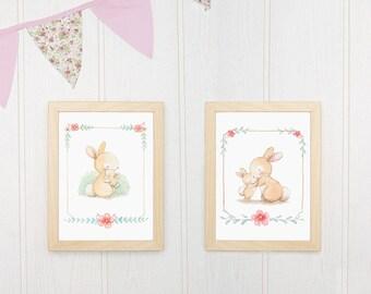 """Set of two Nursery Art """"MOM RABBIT HUGS"""" Archival Print, Nursery Illustration."""