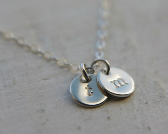 Two Tiny Sterling Silver Disc Necklace, Initial Charm Jewelry, Dainty Delicate Letter Necklace, Small Simple Everyday Layering Necklace